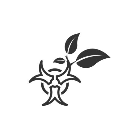 Biohazard leaves icon in single color. Science technology biology environment friendly
