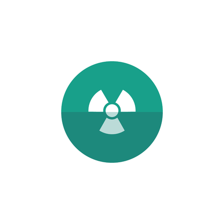 hazard: Radioactive symbol icon in flat color circle style. Science research energy nuclear waste