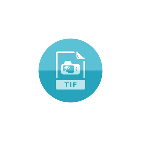 TIF file format icon in flat color circle style. Image photo camera file computer data tagged
