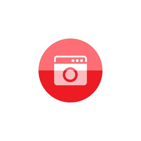 communication icons: Setting gear icon in flat color circle style.