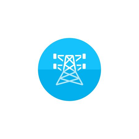 power cables: Pylon icon in flat color circle style. Electricity high voltage distribution energy