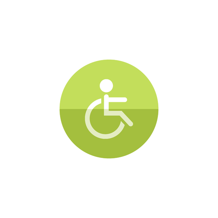 Disabled access icon in flat color circle style. Road building wheelchair care