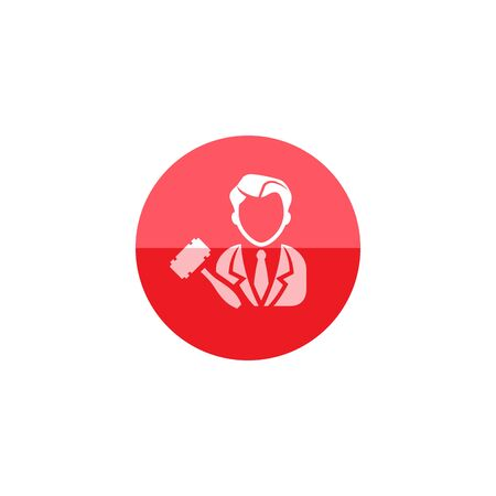 bidding: Auctioneer icon in flat color circle style. Business concept auction bidding bidder selling marketplace