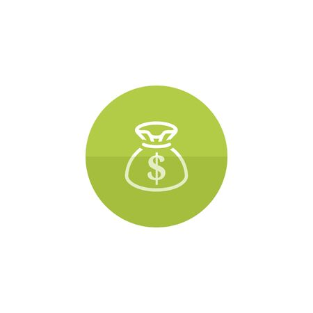 Money sack icon in flat color circle style. Finance wealth banking Ilustrace