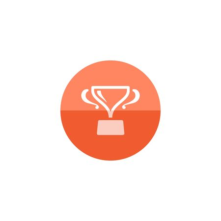 prize winner: Trophy icon in flat color circle style. Winner champion prize honor celebration cup gold bronze