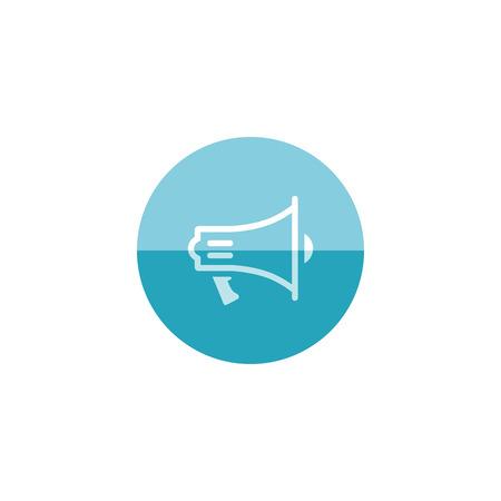 mobile website: Megaphone icon in flat color circle style. Loudspeaker scream demonstration propaganda Illustration