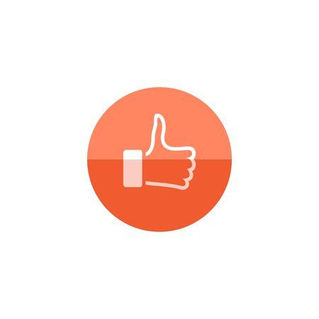 Le pouce vers le haut de l'icône de la main dans le style de cercle de couleur plat. Mise à jour de statut de nouvelles de médias sociaux Internet comme Illustration