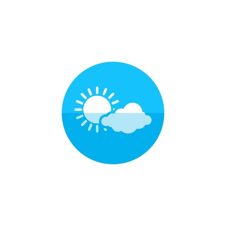 air: Weather forecast partly cloudy icon in flat color circle style. Meteorology overcast