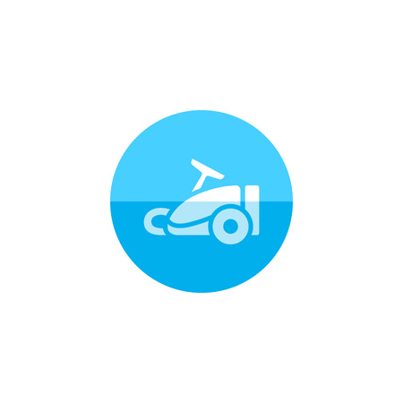 dirt: Vacuum cleaner icon in flat color circle style. Home house appliance household working tool