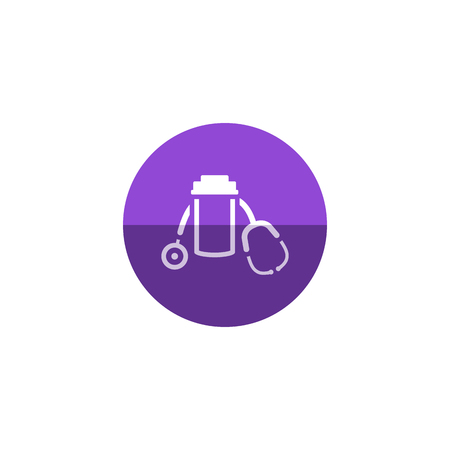 medical illustration: Pills bottle stethoscope icon in flat color circle style. Vitamin medicine drugs painkiller addiction doctor instrument
