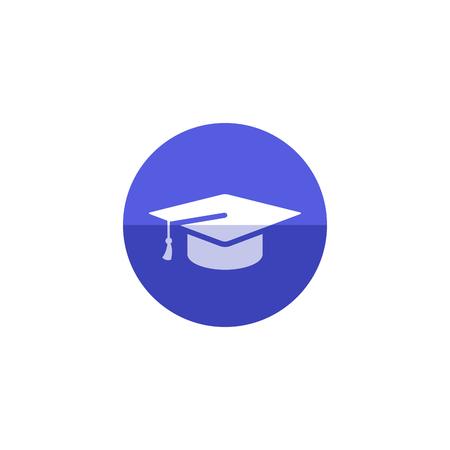 Graduierung Hut-Symbol in flachen Farbe Kreis-Stil. Ausbildung College Student Erfolg grad Feier