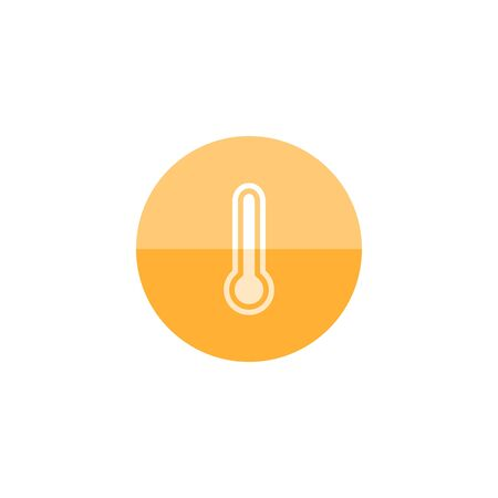 Thermometer icon in flat color circle style. Medical nature science temperature measure hot humid sunny tropical Illustration