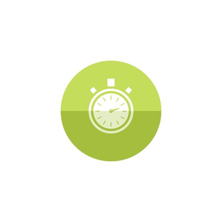 Stopwatch icon in flat color circle style. Speed, time, deadline Illustration