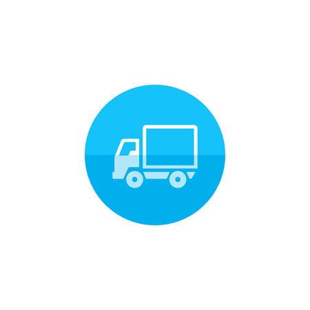 mobile website: Truck icon in flat color circle style. Freight, transport, logistic, delivery Illustration