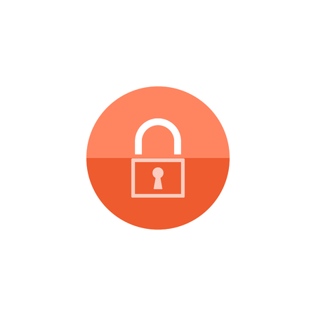 paying: Padlock icon in flat color circle style. Finance, money, safety, protection