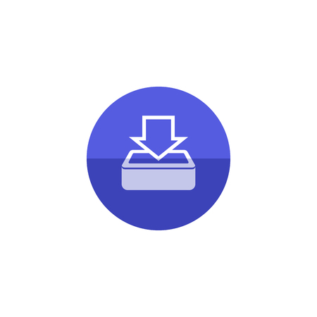 arrow icon: Download icon in flat color circle style. Internet data retrieve file hosting email