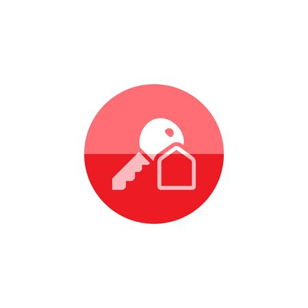 Key icon in flat color circle style. Safety protection house home property hotel accommodation travel Illustration