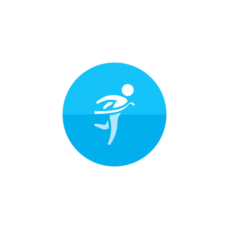 Finish line icon in flat color circle style. Sport runner marathon competition winning champion