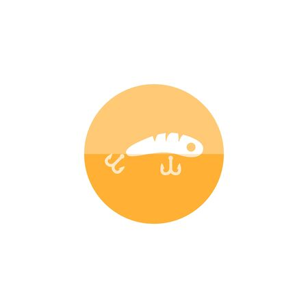 river: Fishing lure icon in flat color circle style. Sport water sea lake river attracts recreation