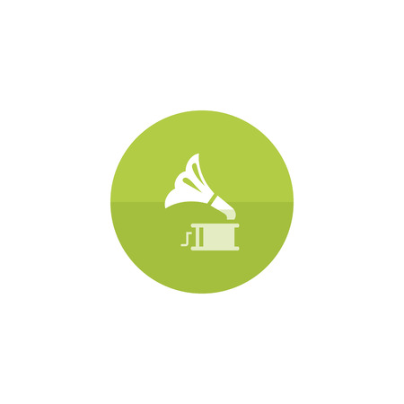 listen to music: Gramophone icon in flat color circle style. Music instrument player listen nostalgia