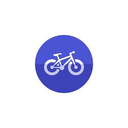 explore: Fat tire bicycle icon in flat color circle style. Sport transportation explore distance endurance extreme terrain