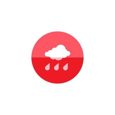 cloudburst: Rainy icon in flat color circle style. Season forecast monsoon wet meteorology Illustration