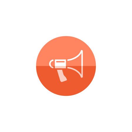 Loudspeaker icon in flat color circle style. Loudspeaker scream movie director Illustration