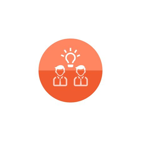 communication icons: Teamwork icon in flat color circle style. Business communication discussion idea solution solving challenge Illustration