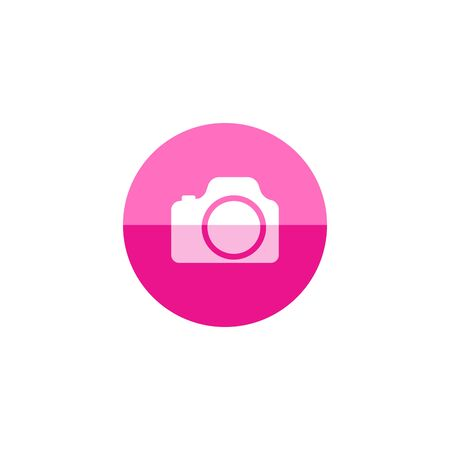 Camera icon in flat color circle style. Digital photography snapshot
