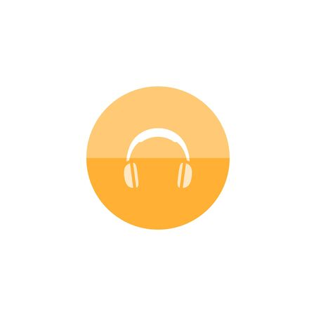Headset icon in flat color circle style. Entertainment electronic personal hearing music computer gamer