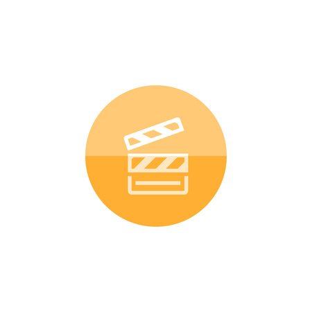 clouds: Cinema film icon in flat color circle style. Symbol records take start
