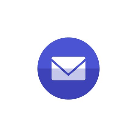 Email icon in flat color circle style. Envelope post letter communication business