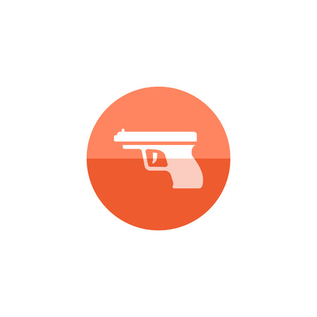 gatillo: Arm gun icon in flat color circle style. Pistol automatic police justice crime trigger protection Vectores