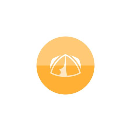 Camping tent icon in flat color circle style. Shelter vacation travel hiking