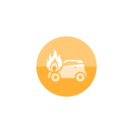 Car on fire icon in flat color circle style. Automotive transportation accident accident burned insurance claim
