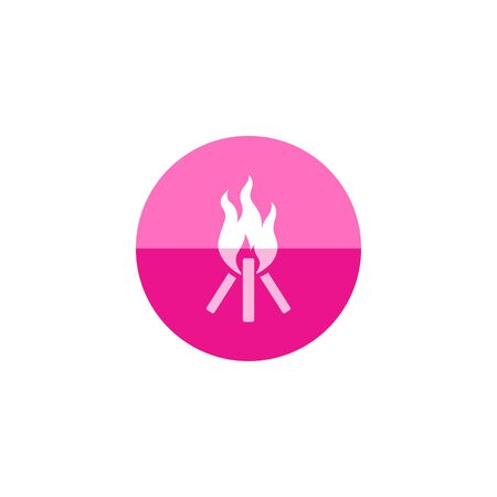 Camp fire icon in flat color circle style. Camping burn heat wild fire