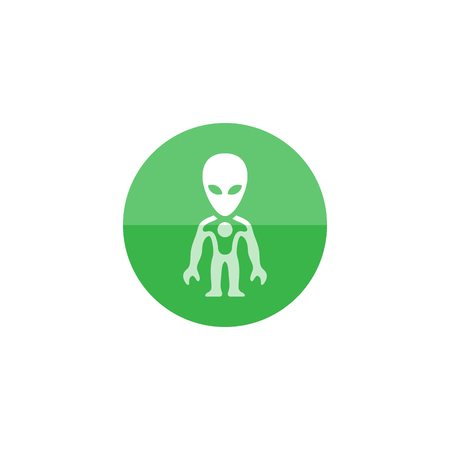 invader: Alien icon in flat color circle style. Extraterrestrial, outer space, invader, humanoid