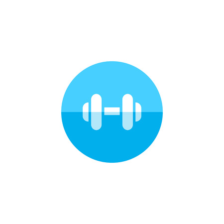 exercise equipment: Dumbbell icon in flat color circle style. Sport gym equipment weight lifting hand exercise