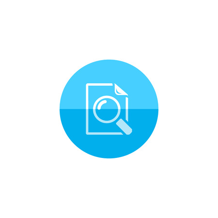 icons site search: Magnifier icon in flat color circle style. Zoom explore find locate paper document files Illustration