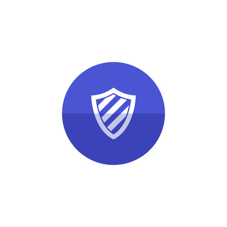 cross: Shield icon in flat color circle style. Protection, computer virus, antivirus Illustration