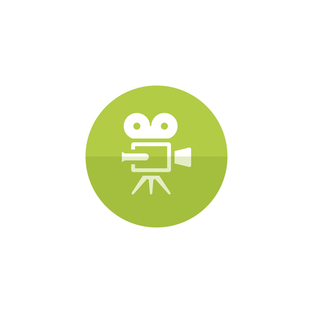 photo: Movie camera icon in flat color circle style. Technology entertainment recording cinema film vintage