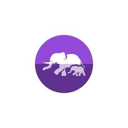 asian family: Elephant icon in flat color circle style. Mammal zoo animal family jungle safari