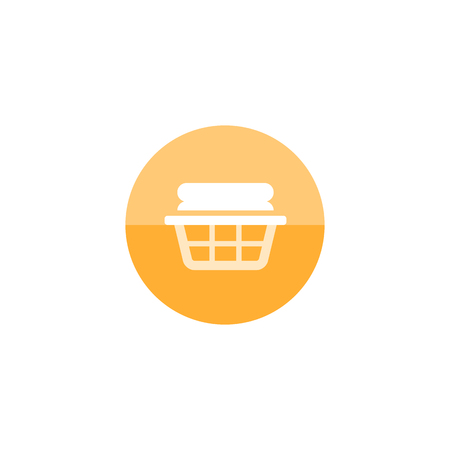 textiles: Clothes basket icon in flat color circle style. Laundry household