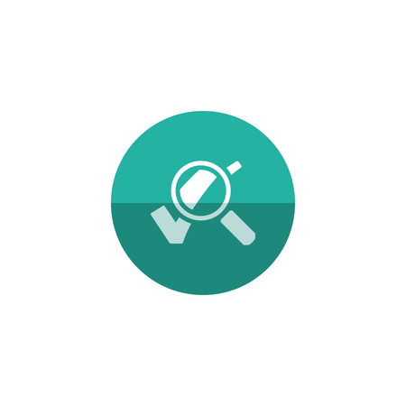 locate: Magnifier check mark icon in flat color circle style. Zoom find locate approved decisions voting Illustration