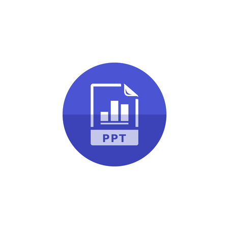office presentation: Presentation file format icon in flat color circle style. Data report information office financial number presentation