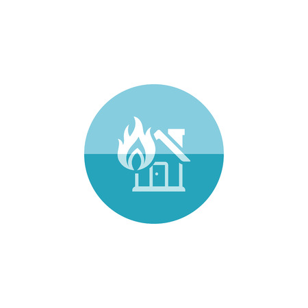 sabotage: House fire icon in flat color circle style. Nature disaster sabotage accident insurance risk claim Illustration