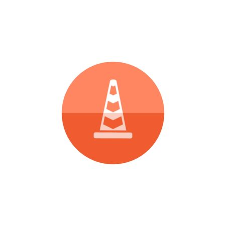 Traffic cone icon in flat color circle style. Road construction warning alert internet web page under construction Illustration