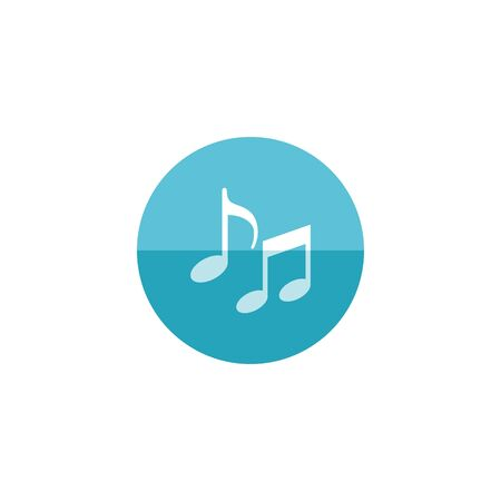 crotchets: Music notes icon in flat color circle style. Musical sheets sign crotchets quaver
