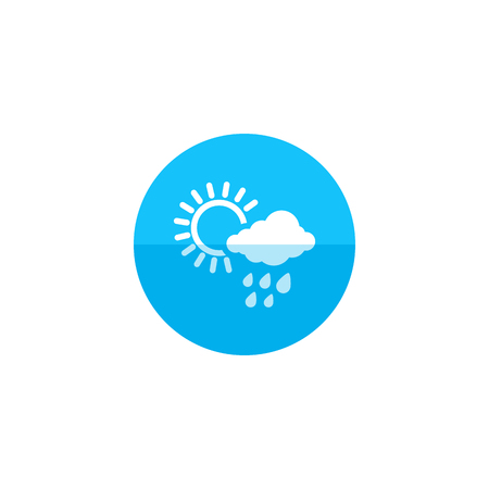 clouds: Rainy icon in flat color circle style. Season forecast monsoon wet meteorology Illustration