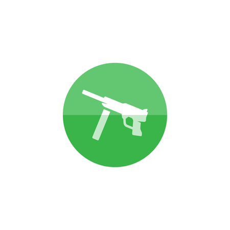 Vintage firearm icon in flat color circle style. World war army hand gun.